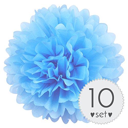 ellblau - Pom Pom Deko zur Hochzeit oder Party - 10er Set handgefertigte Seidenpapier Pompons (Hell-Blau, 30 cm) ()