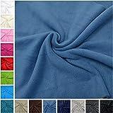 MAGAM-Stoffe ''Paula'' Fleece-Stoff Uni von allerbester Qualität | 15 Farben | Antipilling | Kinder-Stoff | Meterware ab 50cm (11. Rauchblau)