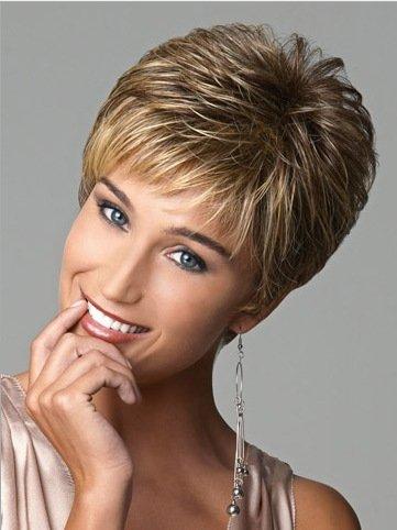 Meylee Perücken Kurzes Haar Perücken weiße Frauen Frauen in Europa synthetische Perücken natürliche kurze Perücken , picture (Pflege Perücke Synthetische)