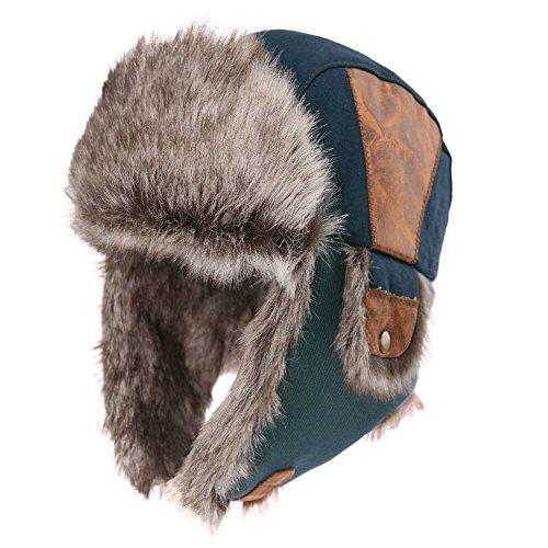 Kostüm Pilot Hut - SIGGI schwarzblaue warme Baumwolle Trappermütze Bomber Hut Unisex Fliegermütze Fellmütze Erwachsenen für Herren