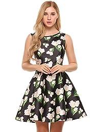 f03e967e8259f5 Meaneor Damen Blumenprint Skaterkleid A-Linie Ärmellos Blumenkleid Knielang  Kleid mit Druck