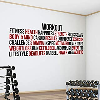 Pro Gym Workout Word Block. Premium Motivational Fitness Gym Motivational Wall Art Decal. (124cm x 35cm, Black & Red)