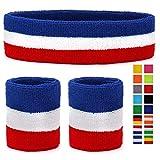HikBill Schweißbänder Set inkl Sport Stirnband und Handgelenk Schweißbänder für Laufen Fahrrad Joggen Tennis Fußball (Red/White/Blue)