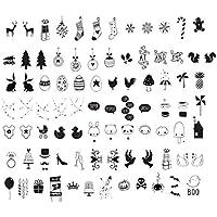 Ai-life 84 Piezas Negro DIY Especiales Cinema Signos Símbolos Gráficos, Símbolos de Celebración Set Complementario Signos de Cine para Caja de luz de Tamaño A4, Decoración de Navidad de Halloween