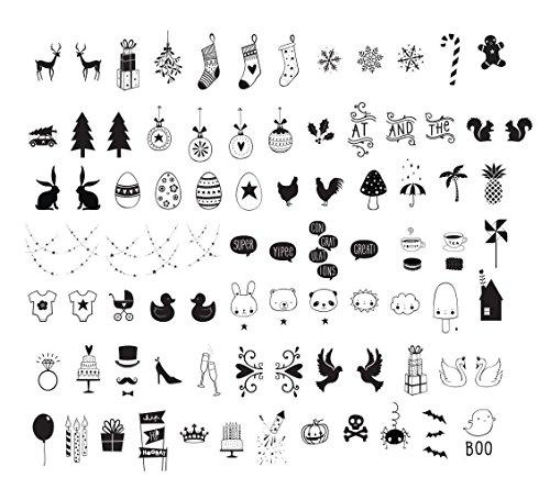 NectaRoy 84 Stück DIY Weihnachten Dekorativ Farbe Buchstabe-Karte Symbole Graph Ergänzungsset für A4 Gestaltbar Cinematic Light Box, Lightbox Ergänzungsset Buntes Licht Box Groß-Buchstaben Set, Ergänzungsset Celebrations