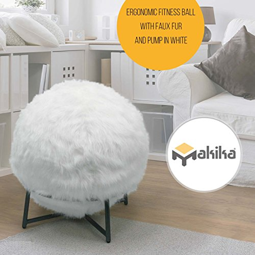 Makika Sitzball Ball Balanceball Fitnessball Sportball Büroball Gymnastikball Sitzhocker inklustive Ballschale Maximalbelastbarkeit bis 300 kg mit Kunstfell, Pumpe und Standgerüst in Weiß
