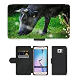 GoGoMobile PU Leather Case Coque housse Smartphone Flip Bag Cover Protection // M00124174 Vacas Cow Ganadería Naturaleza Galicia // Samsung Galaxy S6 (Not Fits S6 Edge)