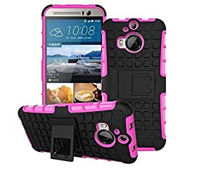 Heartly Flip Kick Stand Spider Hard Dual Rugged Armor Hybrid Bumper Back Case Cover For HTC One M9 Plus M9+ - Cute Pink