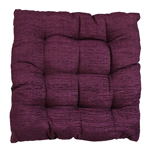 "Story@Home Square Corduroy Chair Pad - 14""x14"", Burgundy"