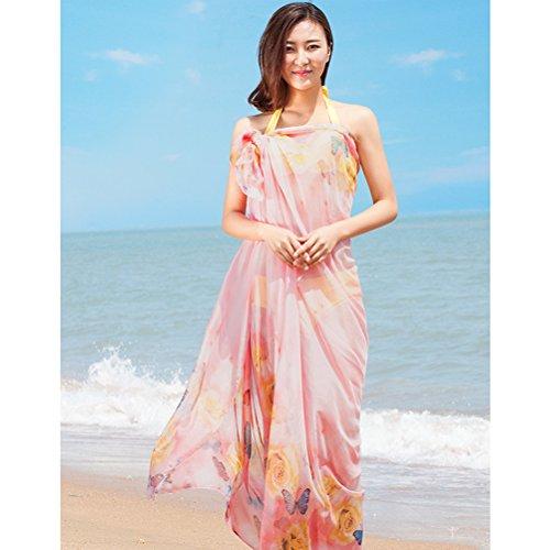 Aosbos Abito da Spiaggia per Donna Copri Costume in Chiffon Rosa
