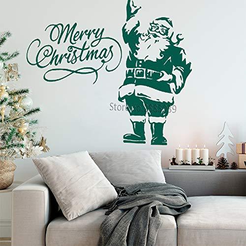 Modeganqingg Adesivi murali Babbo Natale Classici Decorazioni Natalizie Decorazioni per la casa Soggiorno Art Mural Rimovibile Decorazione di Capodanno Verde S 47 cm x 42 cm