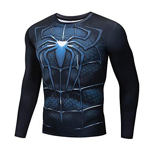JUFENG Spider-Man Sport Langarm T-Shirt, Sommer Komfort Top,L