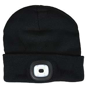Asab 4 Led Head Lamp Black Knit Beanie Hat Hands Free
