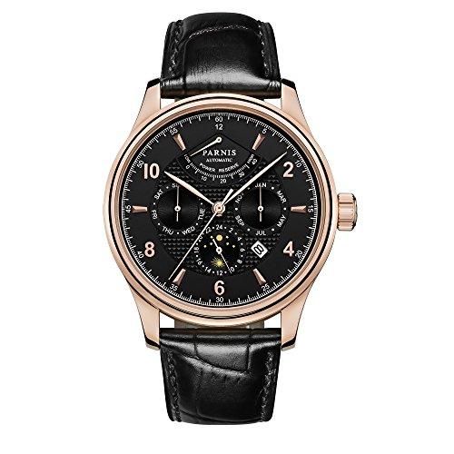 PARNIS Complication 2119 Automatik Herrenuhr Edelstahl-Armbanduhr Lederarmband MIYOTA Schnellschwinger Kaliber 9100 mit Vollkalender und Gangreserve-Anzeige (Iwc-uhr)