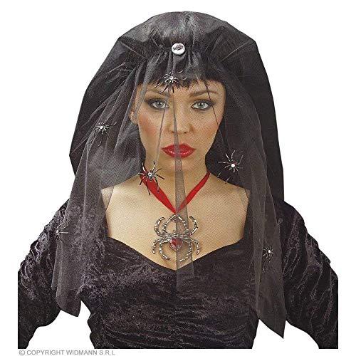 Lively Moments schwarzer Schleier auf Haarband mit Spinnen / Witwe / Halloween Kostüm Zubehör (Halloween-kostüme Witwe Spinne Schwarze)