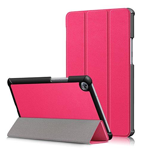 HereMore Huawei MediaPad M5 8.4 Hülle, Ultra Schlank PU Leder Tasche Ständer Schutzhülle Smart Cover mit Auto Schlaf / Wach Funktion für Huawei MediaPad M5 8.4 Zoll 2018 Modell Tablet PC, Magenta