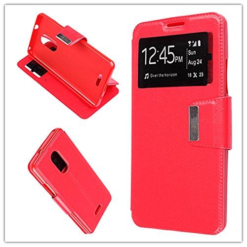 MISEMIYA - Hüllen Taschen Schalen Skins Cover für Alcatel 3C - Hüllen, Cover View Unterstützung, Rot