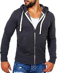 Young & Rich Herren Basic Sweatjacke mit Kapuze Kontrast Look einfarbig Slimfit Sweatshirt Hoodie Jacket Reißverschluss, Grösse:M, Farbe:Anthrazit