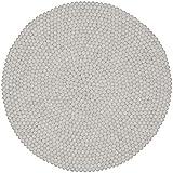 myfelt Linéa Filzkugelteppich, rund, Schurwolle, weiß, Ø 70 cm