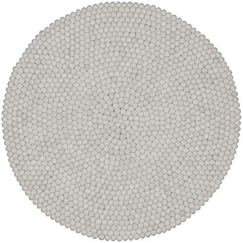 myfelt Linéa Filzkugelteppich, rund, Schurwolle, weiß, Ø 50 cm