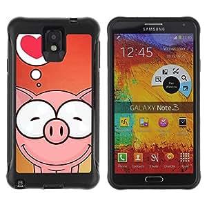 STRONG Weich TPU Hülle Schutz Etui für Samsung Note 3 / Cute Pig Love