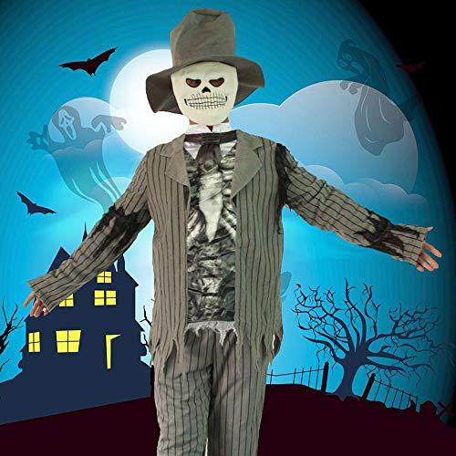 Noble Halloween Cosplay Adult Male Ghost Kleidung Horror Gestreiften Anzug Ghost Kostüm Ghost (Für Erwachsene Ghost Groom Kostüm)