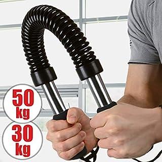 Biegehantel   30kg oder 50kg, Stahl, schwarze Farbe, für Arm und Unterarm, Bizeps und Brust Krafttraining   Königsfeder, Power Twister, Armtrainer, Expander, Spannfeder, Widerstandsfeder (50kg)