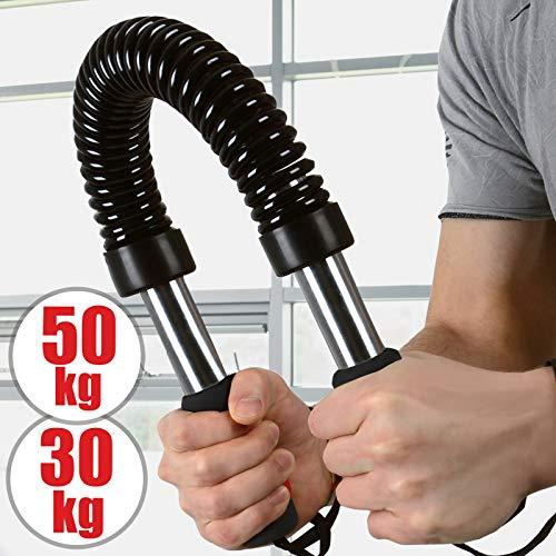 Biegehantel | 30kg oder 50kg, Stahl, schwarze Farbe, für Arm und Unterarm, Bizeps und Brust Krafttraining | Königsfeder, Power Twister, Armtrainer, Expander, Spannfeder, Widerstandsfeder (30kg)