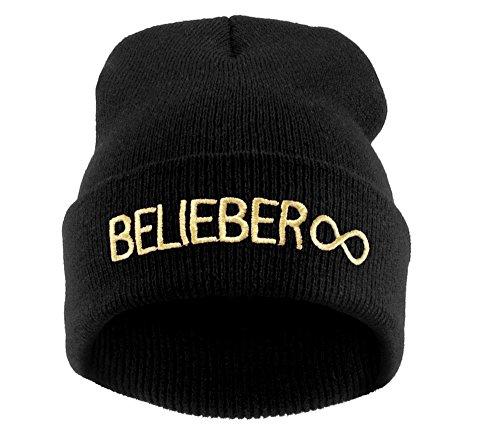 Große Schwarz Burner Cap (Winter Strickmütze Damen Herren Wurm Beanie Mütze Forever Belieber MFAZ Morefaz Ltd)
