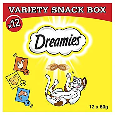 Dreamies Cat Treats, Variety Snack Box with Chicken, Cheese and Salmon, 1 Box (12 x 60 g)