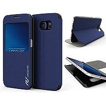 Urcover® Samsung Galaxy S6 | View Case Funda Protectora | Cross Pattern en Azul Obscuro | Carcasa Protección Completa Case Cover Smartphone Móvil Accesorio + PELÍCULA PROTECTORA