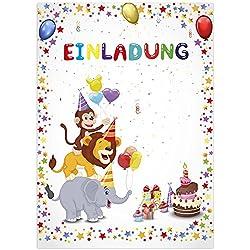 16 Einladungskarten zum Kindergeburtstag - Motiv Tier-Party - für Kinder, Jungen, Mädchen,Feier Geburtstagseinladungen im Set