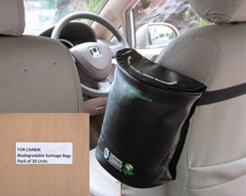 Lighthouse Leather Finish Semi Cylindrical Car Bin with 30 units biodegradable garbage bags