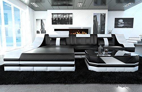Luxus Sofa TURINO L-Form schwarz-weiss - 6