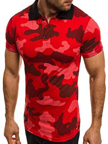 OZONEE Herren Herren Poloshirt Polohemd Polo T-Shirt Kurzarm Figurbetont ZAZZONI 1055 Rot_ATHLETIC-1126