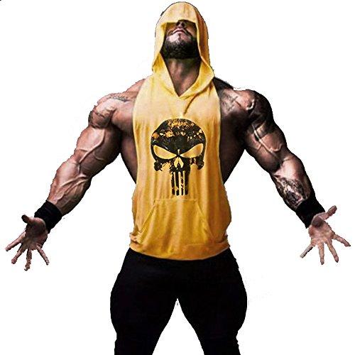 Hippolo Gym Herren Tank Top Men Cotton Stringer Fitness Gym Shirt Solide Sport mit Kapuze Vest (M, Gelb)