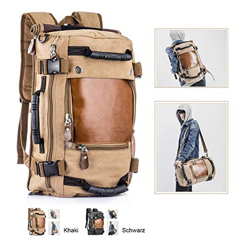 Overmont 35L multifuncional portátil vintage mochila bolsa macuto de lona cuero para excursión camping senderismo acampada viaje activiadad al aire libre caqui/negro