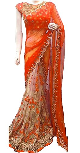 Women's Clothing Orange Net Georgette Sarees For Women Party Wear Offer Latest Designer Wedding New Collections Half & Half Saree with Embroidered Blouse  available at amazon for Rs.1498