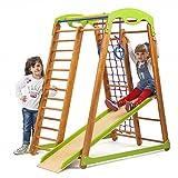 Kinder zu Hause aus Holz Spielplatz mit Rutschbahn ˝Junior˝ Kletternetz Ringe Kletterwand