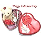 Garima's Unique Valentine Day Gift For Wife | Special Valentine's Day Gift For Lover | Valentine's Day Gift For Lover | Valentine Day Gift For Wife In Heart Shaped Box With Teddy And Fashion Bracelets Watch For Girls (Multicolours, Watch's Strip Col