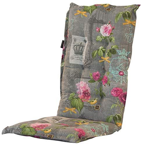 Madison 8 cm Luxus Hochlehner Auflage A 042 Nadine Grey, grau mit Blumen, 120 x 50 x 8 cm