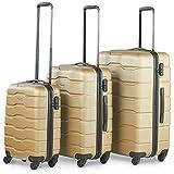 Lot de 3 bagages en ABS VonHaus : valises rigides à roulettes avec un bagage de cabine. Cadenas intégré, poignée télescopique extensible et compartiments intérieurs avec fermeture éclair