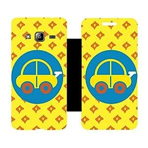 Skintice Designer Flip Cover with Vinyl wrap-around for Smasung Galaxy J3, Design - car