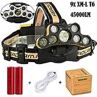 TWBB Wasserdichter justierbarer 45000 LM 9X XM-L T6 LED Stirnlampe verwendbar für Nachtarbeit, Weg, Fischen und Jagd (Gelb)