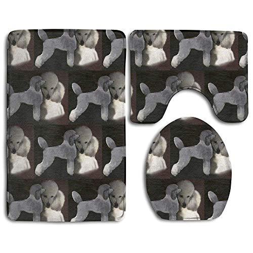 IconSymbol Bath Mat,Poodles in Grey and White Bathroom Carpet Rug,Non-Slip 3 Piece Bathroom Mat Set -