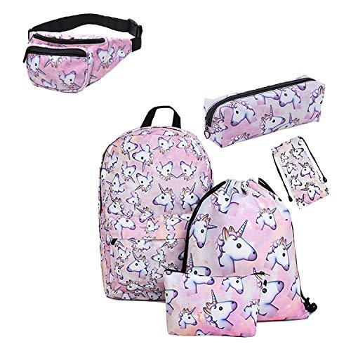 Giddah impreso unicornio Bolso de vidrios, caja de lápiz, bolso cosmético, bolso con cordón, mochila,mochila Set adolescentes para la escuela (pink)