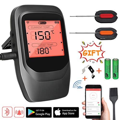 INVOKER Grillthermometer funk,BBQ Thermometer bluetooth,Wireless Fleischthermometer Digital mit 2 Sonden,Rechtzeitiger Alarm und LCD-Anzeige, Unterstützt IOS Android für Küche Grill Backen