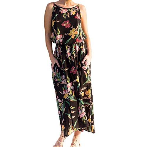 Frauen Mode Blumendruck Langarm Damen ärmellos Boho Maxi Kleid Party Kleid Sommer Strandkleid Von LSAltd (L, Schwarz)