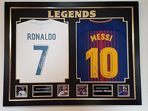 Camiseta fútbol firmada y enmarcada - Cristiano Ronal y Lionel Messi
