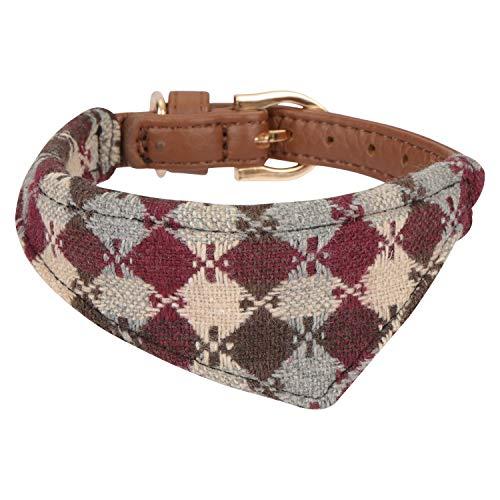 Hanko Süßes Leder Haustier Halsband, Plaid Dreiecktuch Dreiecktuchkrawatte Stil für Hunde, Katzen, Kleines Haustier Outfits ()